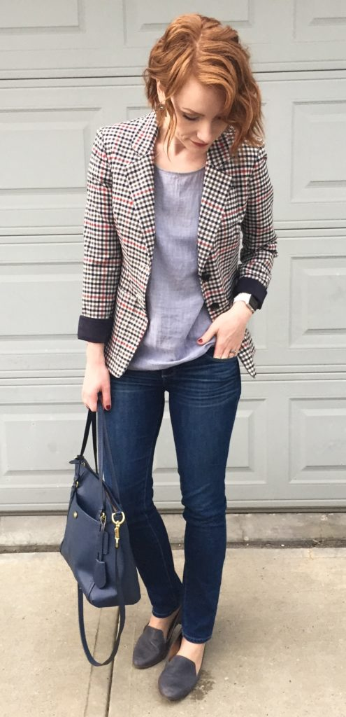 Blazer, Liz Claiborne (thrifted); top, Theory (via consignment); jeans, Paige (thrifted); shoes, Kelsi Dagger (thrifted); bag, Coach (via eBay)