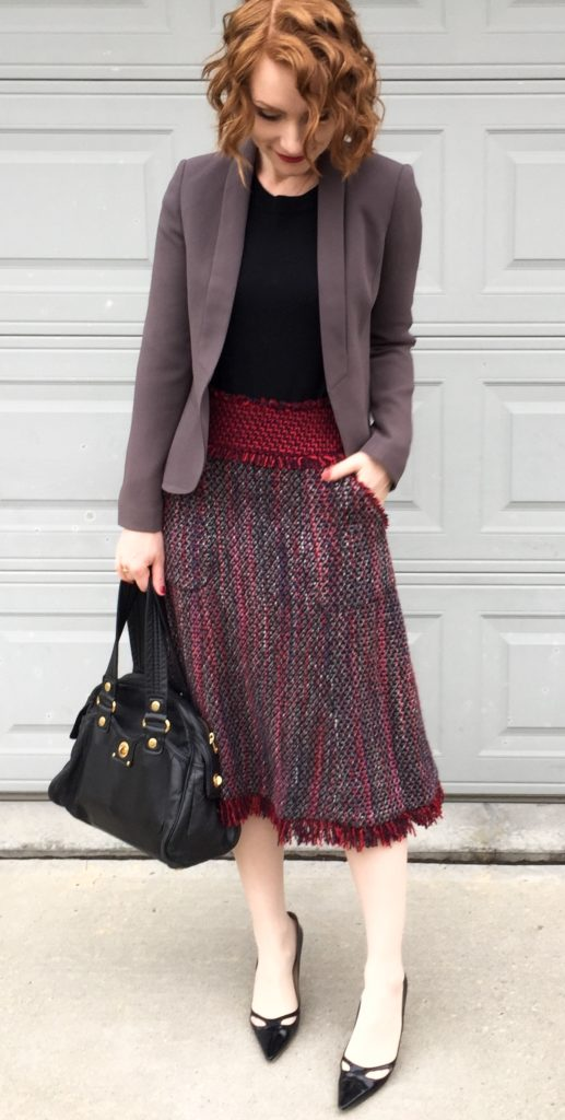 Blazer, Loft82 (consignment); sweater, J. Crew Factory; skirt, Tory Burch (thrifted); shoes, Jimmy Choo (thrifted); bag, MbMJ (via eBay)
