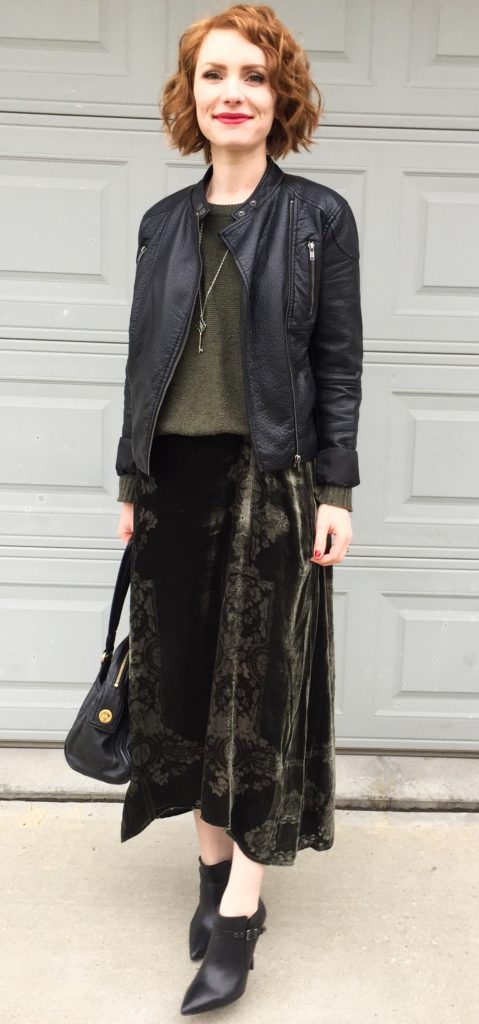 Jacket, Joe Fresh (thrifted); sweater, Madewell (thrifted); dress, Floreat (consignment); boots, Arnold Churgin (thrifted); bag, MbMJ