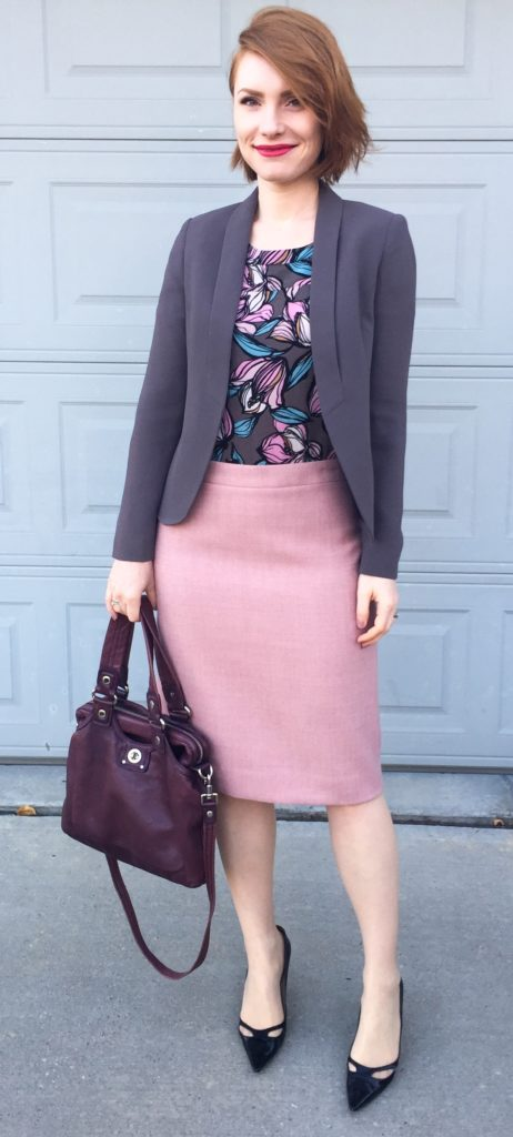 Skirt, J. Crew (thrifted); top, Loft (thrifted); blazer, Loft82 (via consignment); shoes, Jimmy Choo (thrifted); bag, MbMJ