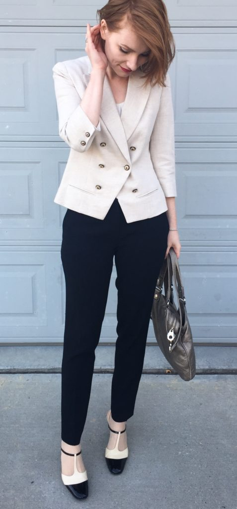 Blazer, Coquille (thrifted); top, BR Factory (thrifted); pants, Aritzia (thrifted); shoes, Ferragamo (thrifted); bag, MbMJ (via eBay)